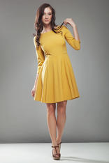 Mustard High Elegance Workwear Skater Dress