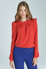 Romantic Orange Long-Sleeve Blouse With Ruffles