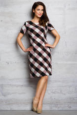 Brown Checkered Board Pattern Classic Dress