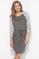 Grey&White Flecked Dress with Raglan Striped Sleeves and Self Tie Waist Belt