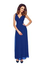 Blue Sleeveless Maxi Dress with Crossover Bodice