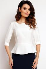 Ecru peplum blouse with elbow length sleeves