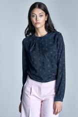 Pink flowers navy blue shirt with ruffled neckline