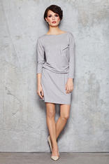 Grey Stretch Shift Dress with Long Sleeves