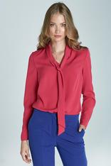 Chic Red Blouse With Sash