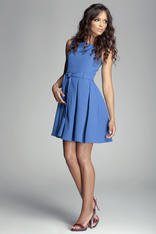Pleated Belted Sleeveless Blue Dress with Seamed Top