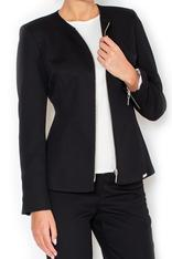 Straight Cut Elegant Black Blazer with Zipper Cuffs
