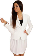 Long Lapels Ecru Coat with Single Button Fastening