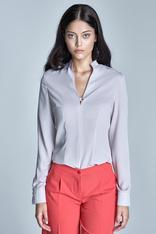 Beige Seam shirt with loop button neckline
