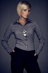 Collared Grey Shirt with Top Stitch Bust Seams