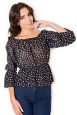 Black Blouse with Shirred Neckline and Waist