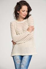Beige pull over sweater with lace knit