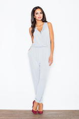 Wrap Around Sleeveless Grey Jumpsuit with Shirred Waist