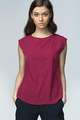 Maroon High Neck Sleeveless Blouse with Curved Hemline