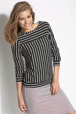 Black and White Striped Casual Blouse with 3/4 Sleeves