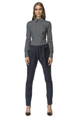 Drop Crotch Navy Blue Pants with Asymmetrical Bow Fastening