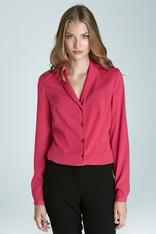 Fuchsia Blouse with Petite Shawl Collars