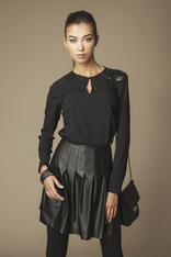 Keyhole Neckline Black Shirt with Leather Lapels