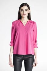 Pink pleated front blouse with button tab sleeves