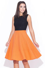 Orange Swirly Panel Skirt with Side Zip Fastening
