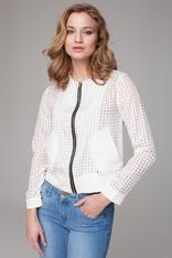 Sheer ecru cropped jacket with zipper fastening