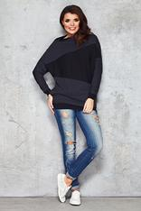 Dark-grey&Black Irregular Block in Front Comfy Blouse