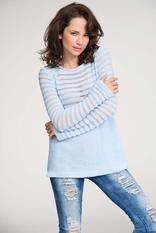 Light blue pull over sweater with lace knit