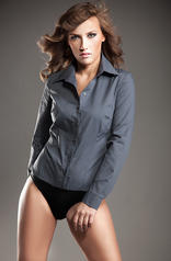 Collared Grey Shirt Bodysuit with Front Button Fastening