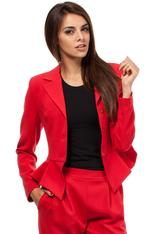 Red Peacock Collar Breasted Blazer with Peplum Hem