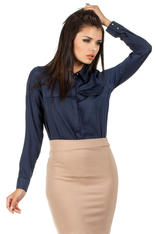 Navy Silky Feel Appointment Blouse Shirt