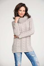 Beige turtle neck sweater with pattern knit