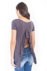 Grey Asymmetrical T-Shirt Blouse with Slit Waterfall Back