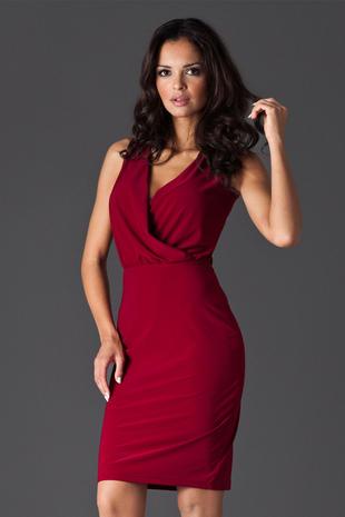 Maroon Wraparound V Neckline Sleeveless Shift Dress
