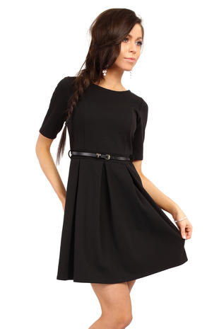 Home dresses black magnanimous modern belted tea length dress