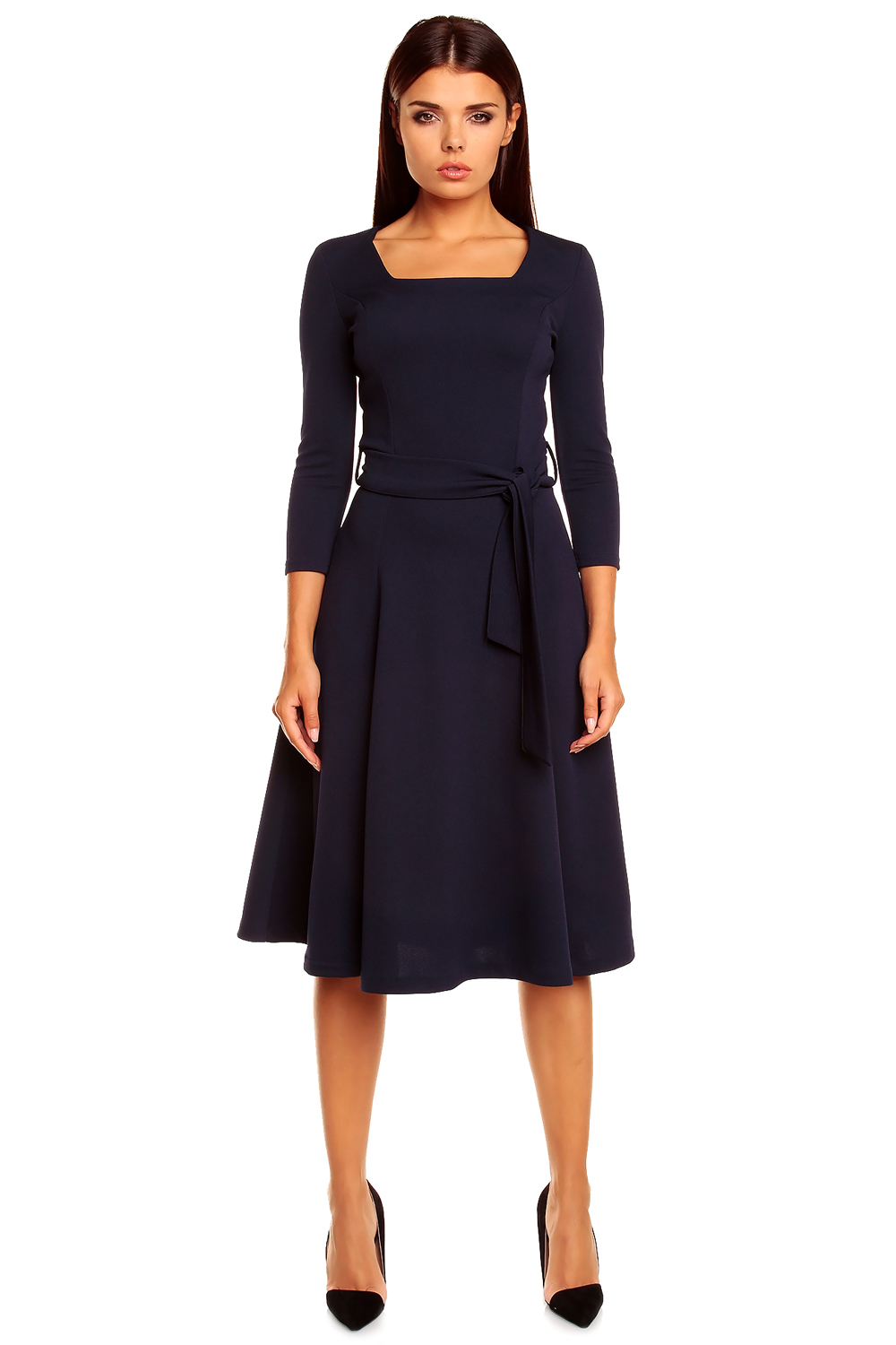 navy blue pleated dress with loop belts