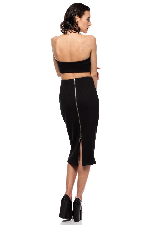 black midi pencil skirt with decorative back zipper fastening