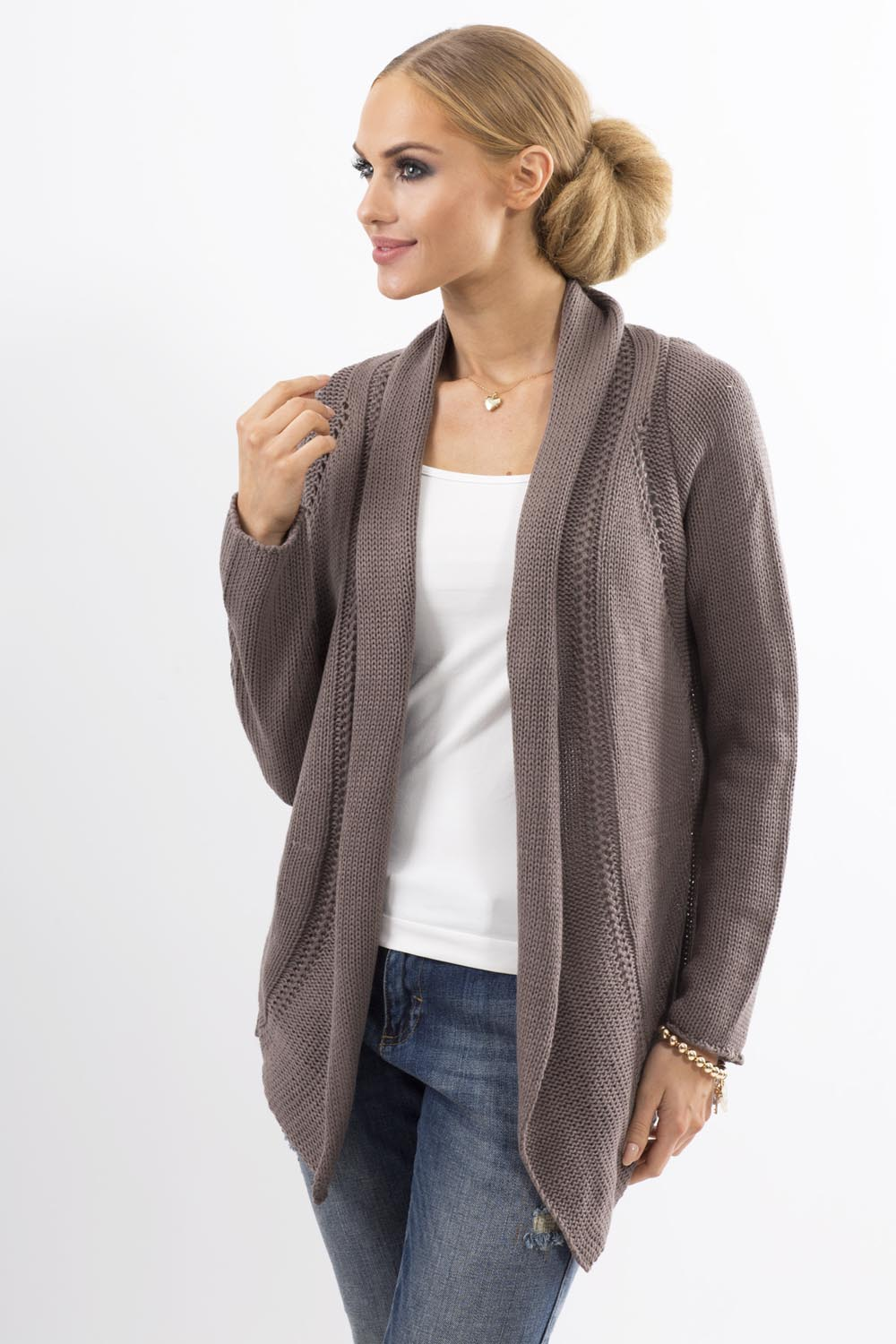 Knitting Pattern Wrap Cardigan : Cappuccino Shawl Collar Ladies Cardigan with Eyelet Knit Pattern