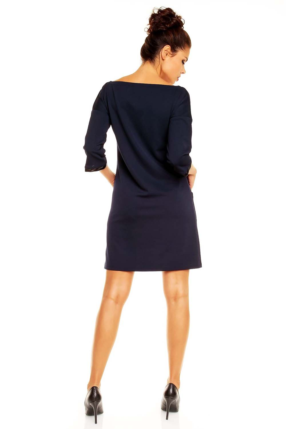 Navy Blue Shift Dress with Leather Trimmings
