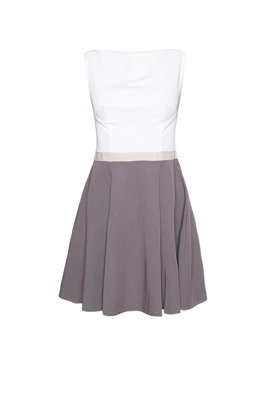 grey seam bodice flippy dress with contrast belt