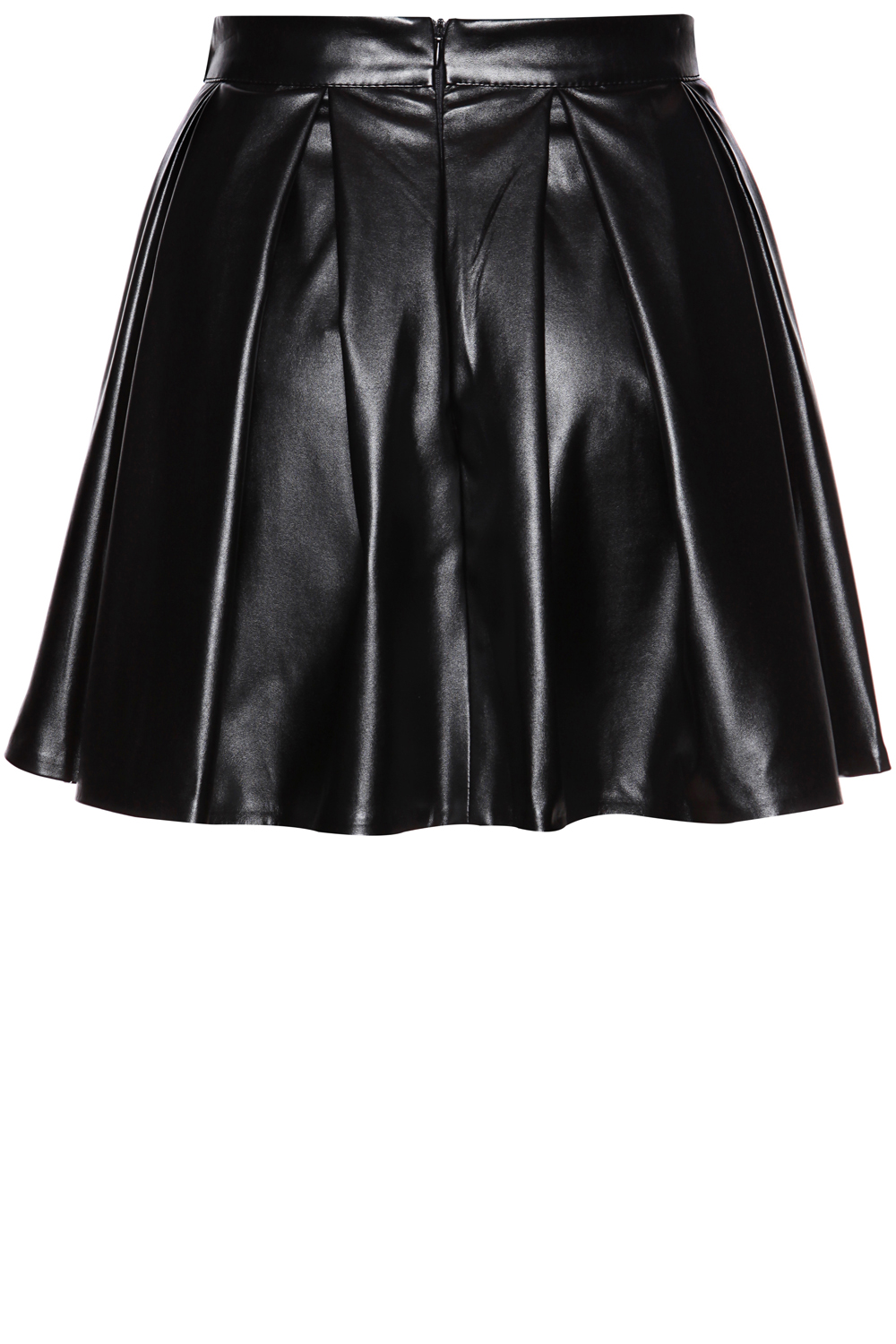 black leather pleated skirt with back seam zip fastening