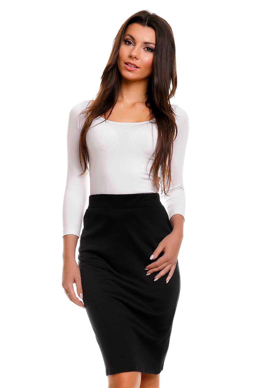 bd91bd483c5 Black Pencil Skirt with Back Zipper Fastening