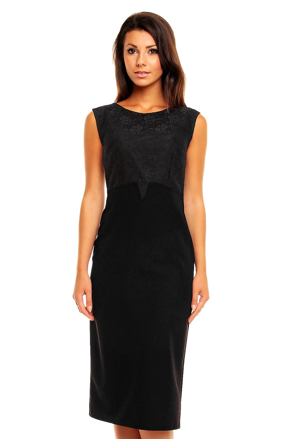 black lovely high waisted pencil cut dress