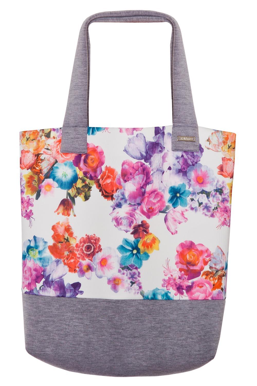 floral printed tote bag with grey border