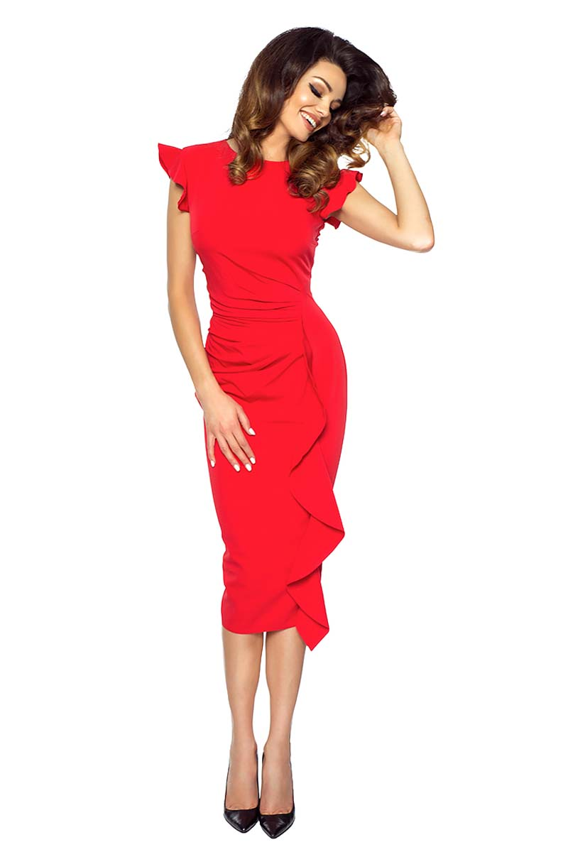 a2691521e9a2 Red Structured Petal Sleeves Midi Dress