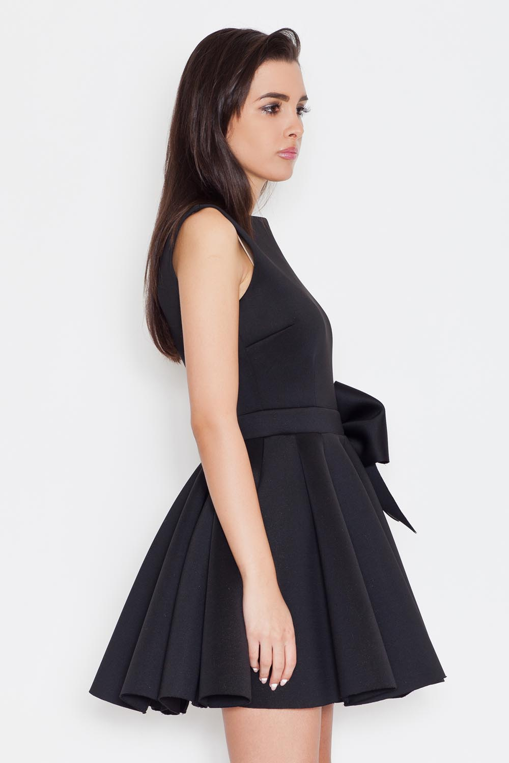 black pleated dress with bow belt