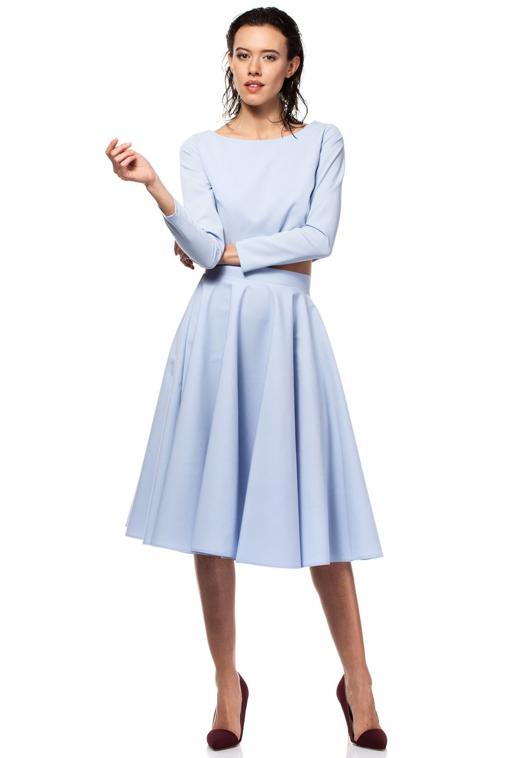 light blue pleated midi skirt with back zipper fastening