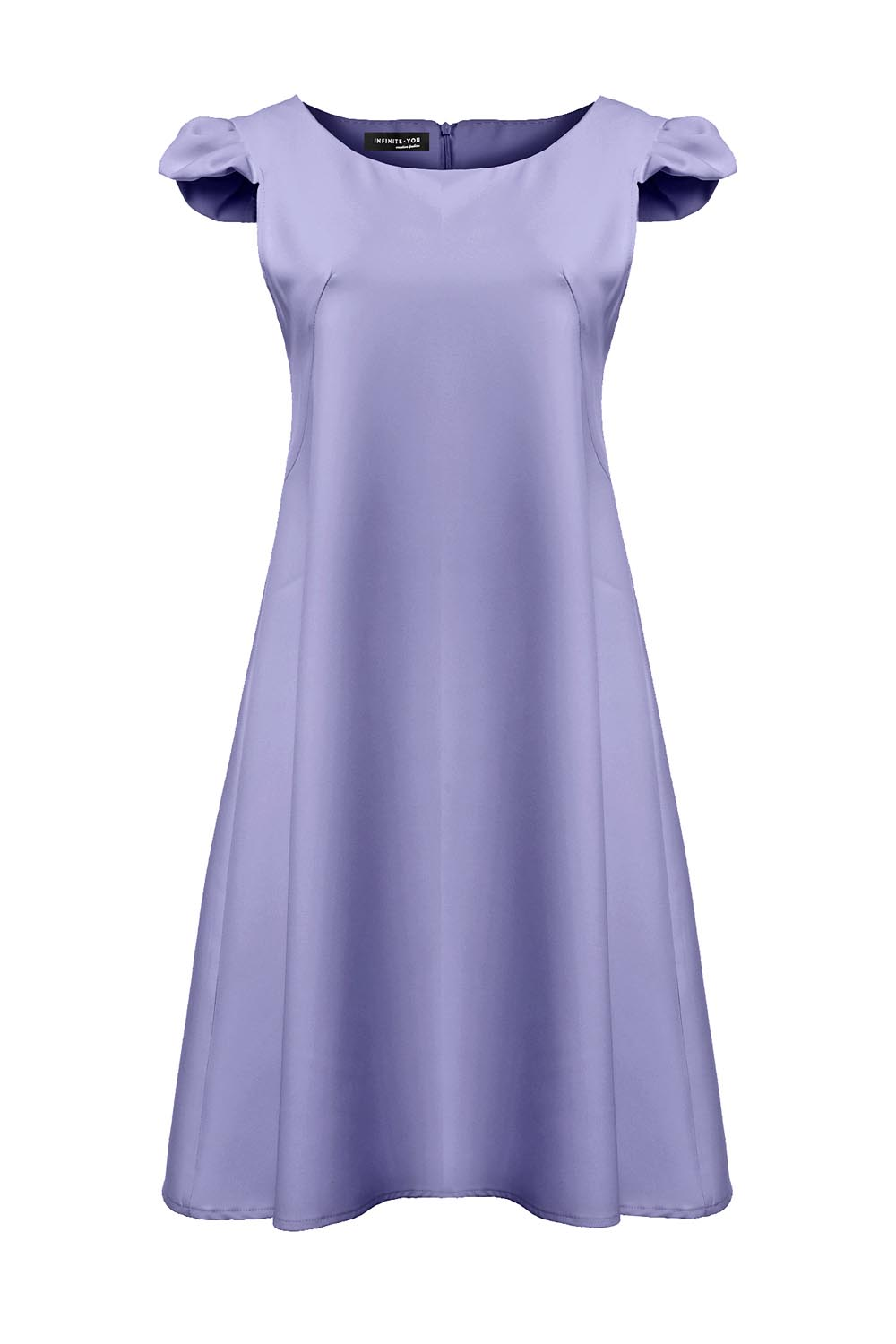 ethereal knee light short dress illusion chiffon blue sleeve cap length bridesmaid