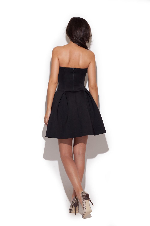 black bandeau dress with pleated skirt
