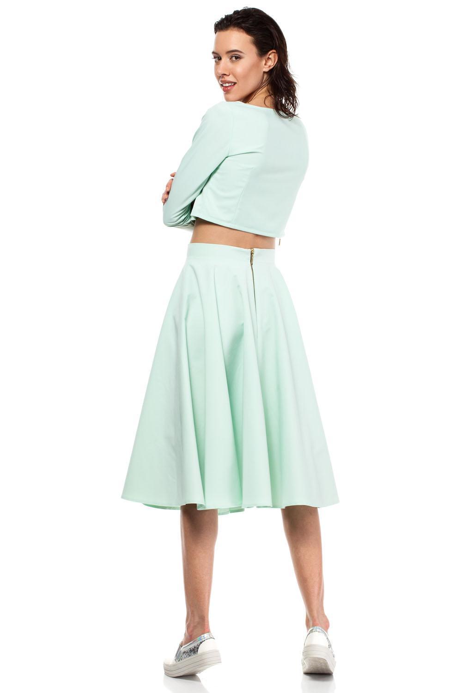 mint pleated midi skirt with back zipper fastening