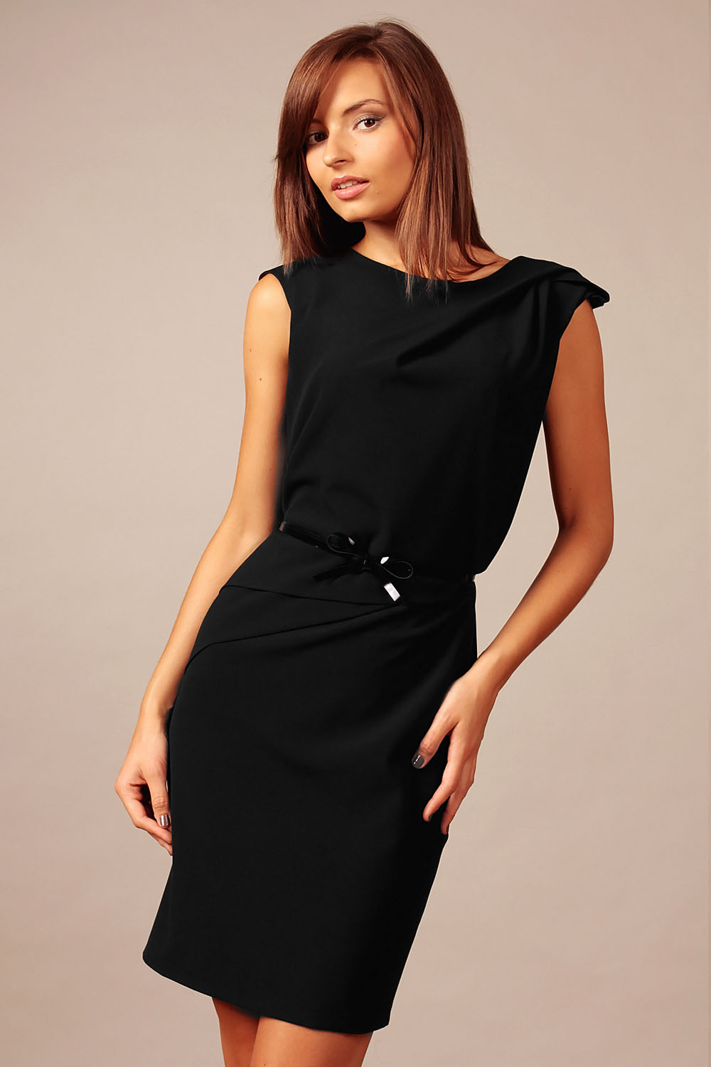 black back slit shift dress with waist belt